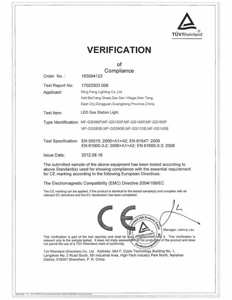 China Ming Feng Lighting Co.,Ltd. Zertifizierungen